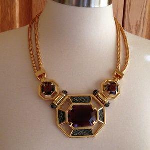 Amethyst/Black Crystal Pave Statement Necklace-EUC